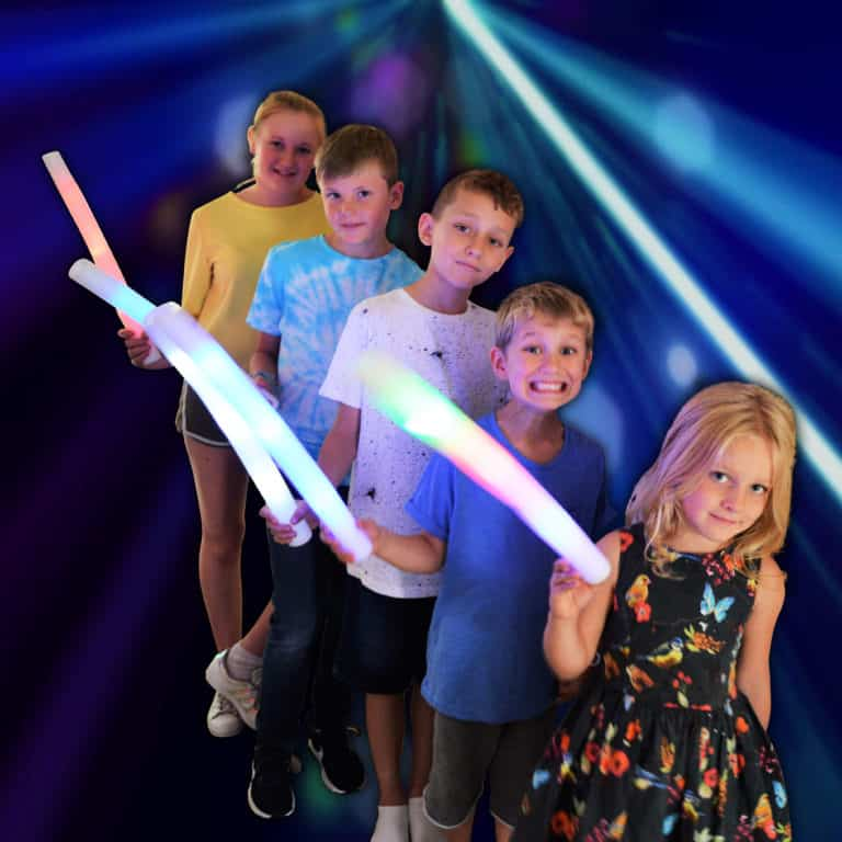 white blue green red pink and multi coloured foam batons with LED lights