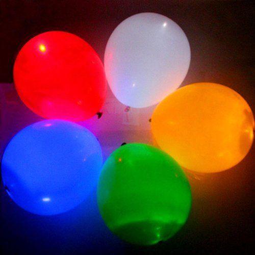 Plain mixed colour led balloons pack of 5 glowtopia