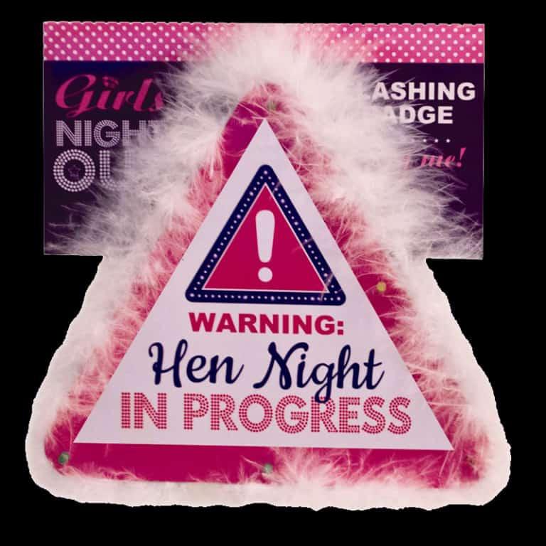 flashing pink hen night badge