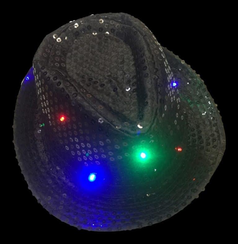 Flashing LED Fedora Trilby Sequin Black Hat