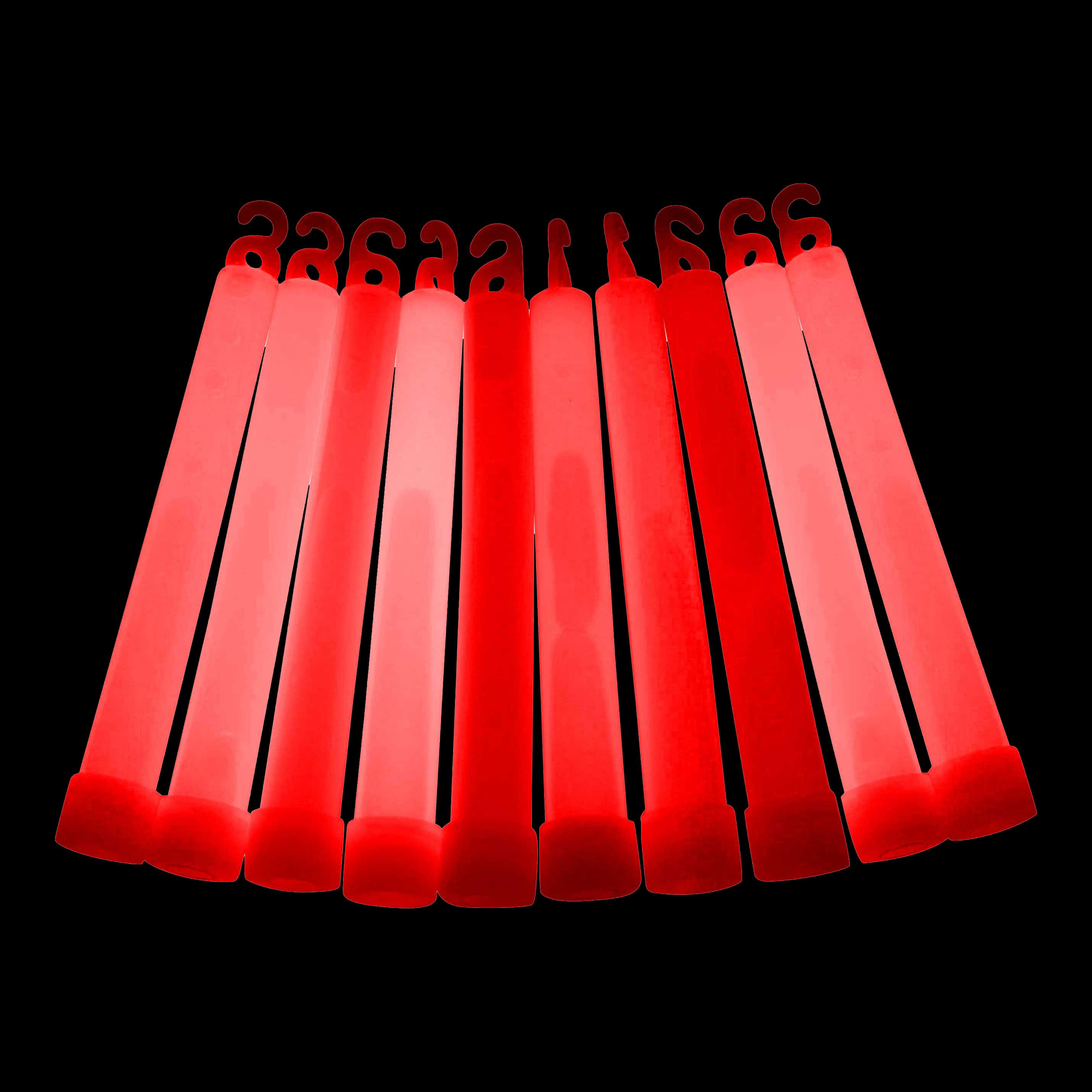 "Glowtopia 6"" 15mm Red Premium Glow Sticks"