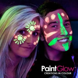young woman with glow in the dark face paint for hen party