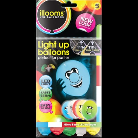 Pack of 5 mixed colour iLLooms LED balloons with happy face design