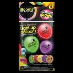 Happy Birthday 5 pack of iLLooms LED balloons in mixed colours