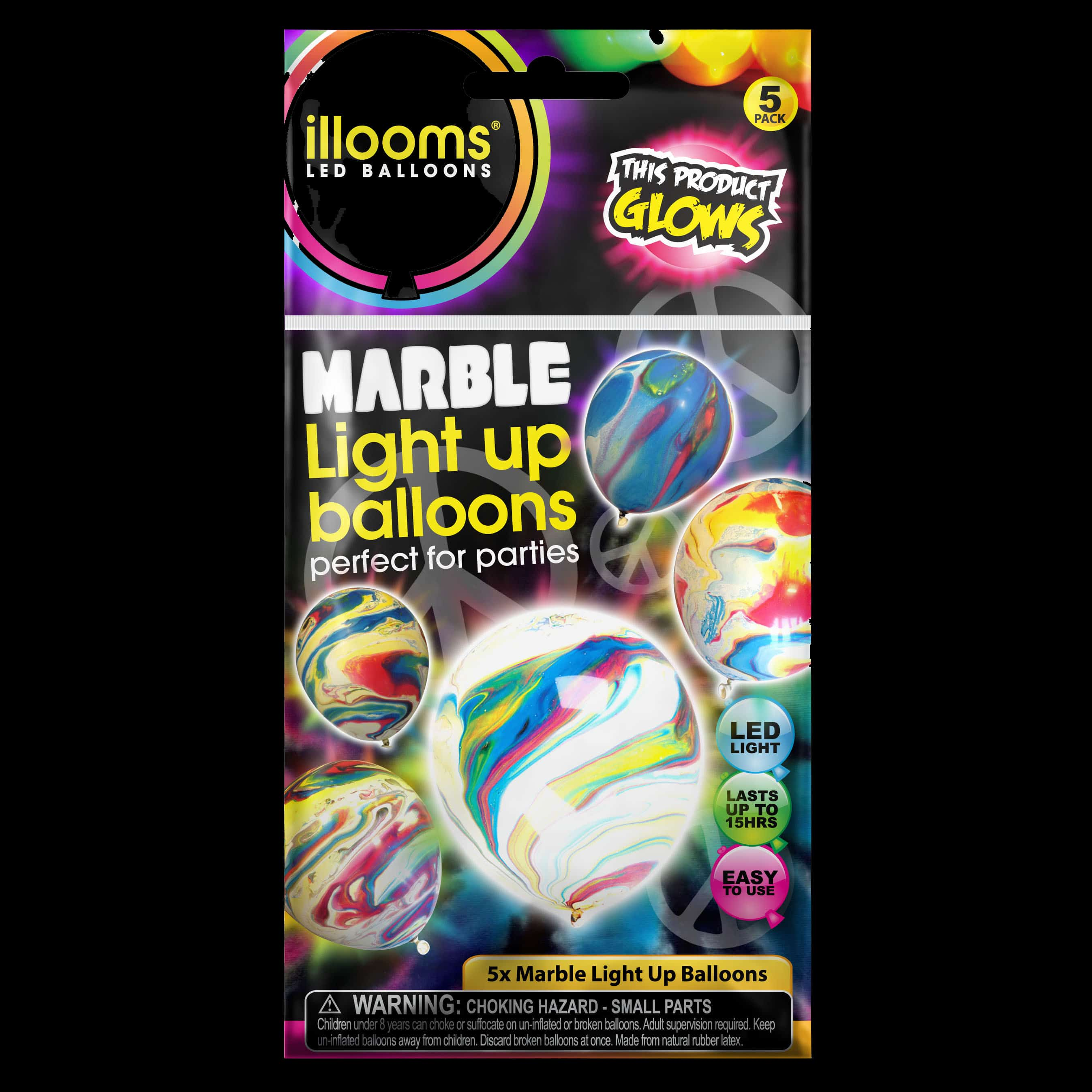 Pack of 5 iLLooms LED balloons with marble effect pattern