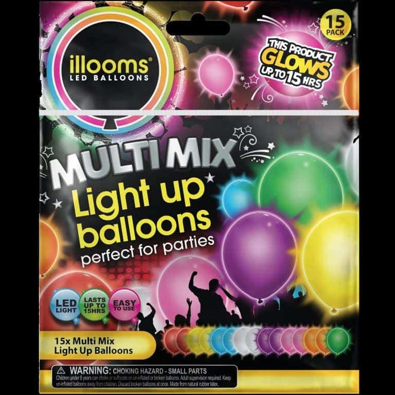 Mixed pack of 15 coloured iLLooms LED balloons