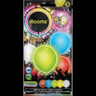 Pack of 5 iLLooms LED balloons in mixed colours (red, blue, yellow, green & white)
