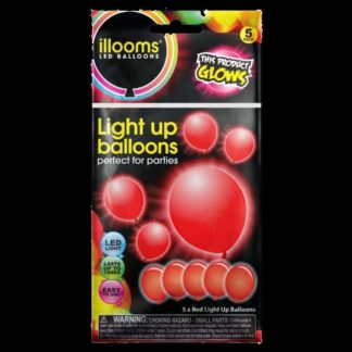 Pack of 5 iLLooms LED balloons in bright red