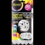 White Stars 5 pack of LED balloons
