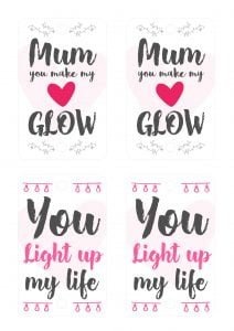 mother's day glow stick craft printable