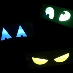 glowing spooky eyes made from glow sticks