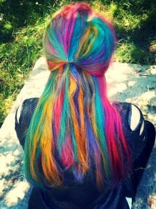 neon uv hair rainbow streaks