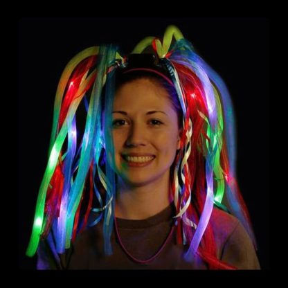 LED crazy hair with dreadlocks and ribbons