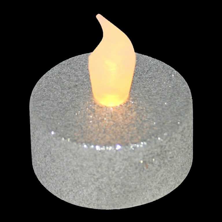 Realistic LED Flickering Tealight with silver glitter base