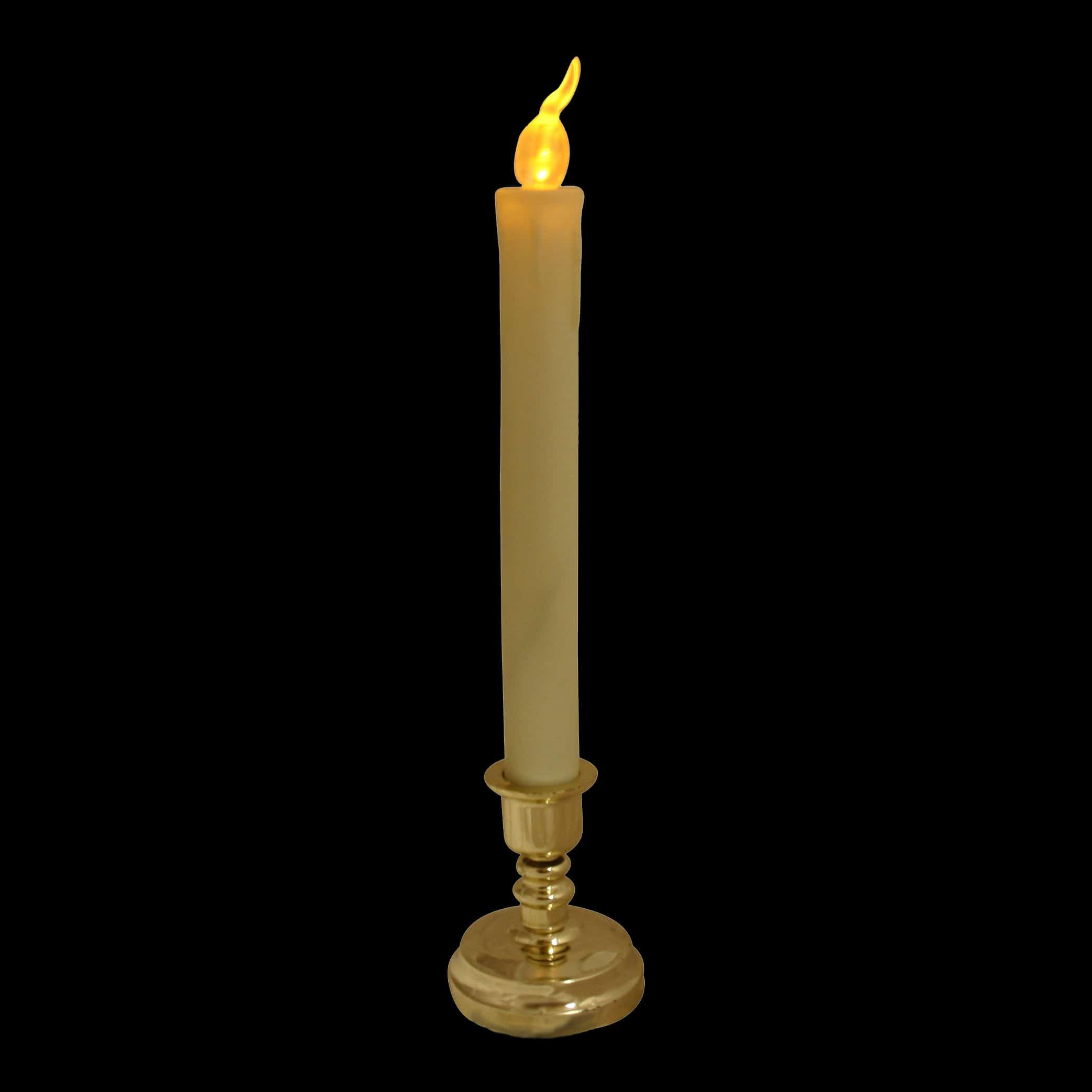 Flickering LED candle stick with metal effect base
