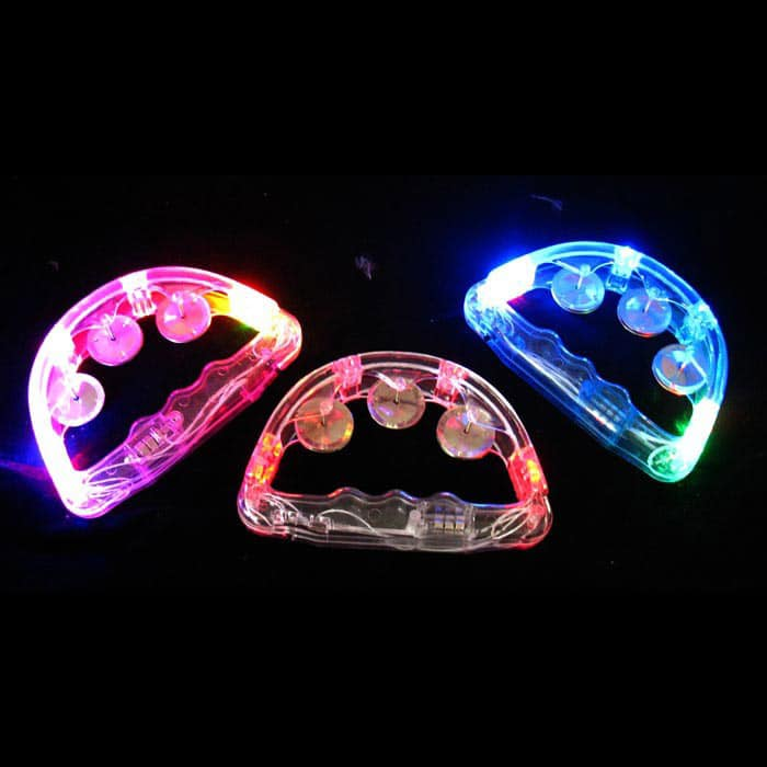 Brightly lit LED tambourines in mixed colours
