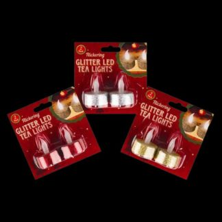 Realistic LED Flickering Tea Light (pair) with red, gold or silver glitter base.
