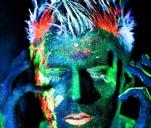 Festival body paint idea using uv body paint