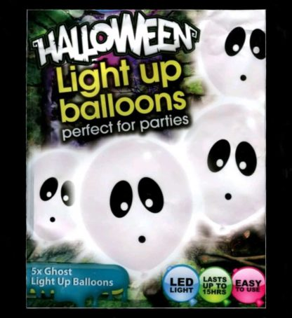 iLLooms LED white balloons with a black ghost design