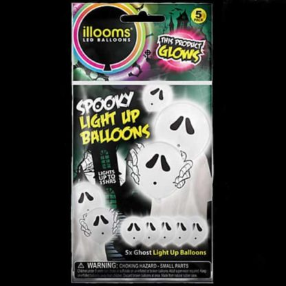 iLLooms LED Balloons in white with a ghost design