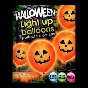 iLLooms LED orange balloons with a black pumpkin design