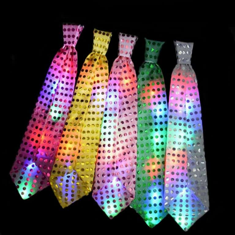 Neck Ties with flashing LEDs that can be set to different patterns