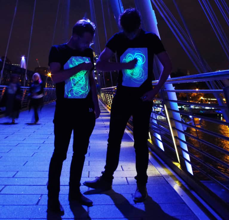 100% cotton interactive glow t-shirts in adult and children's sizes