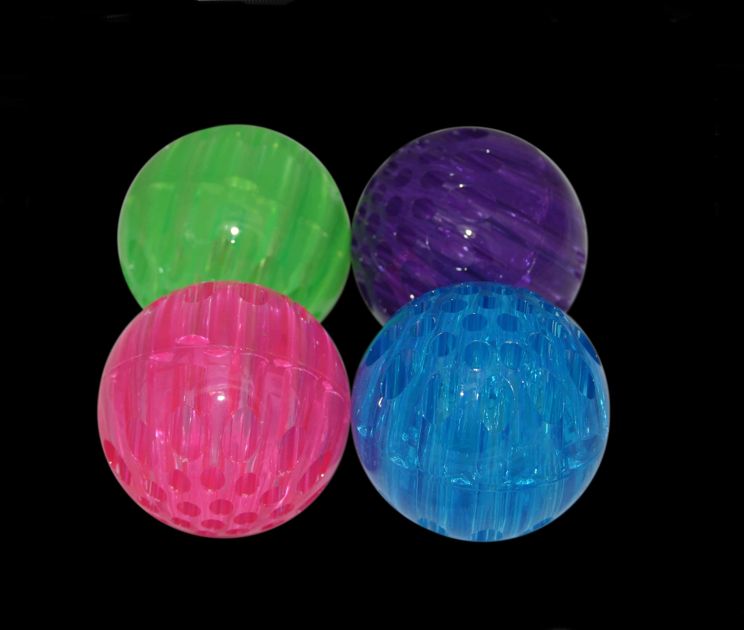 A firm squeezable ball that has a honeycomb finish and brightly flashing coloured LEDs inside.