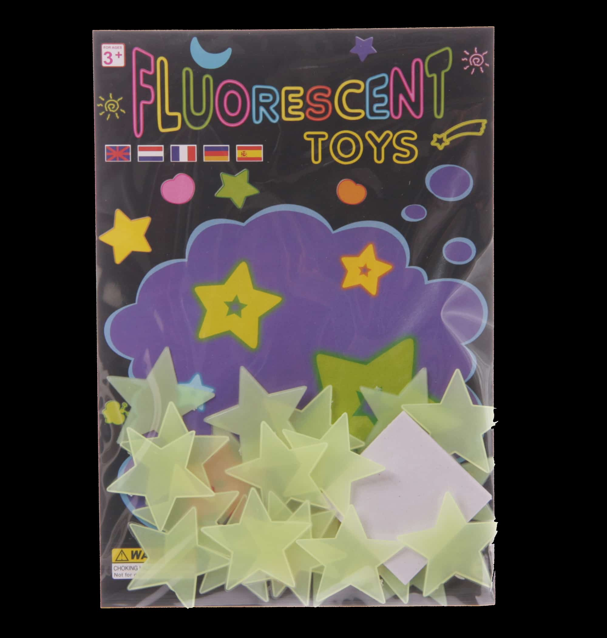 Pack of 24 plastic stars that glow in thwe dark after being exposed to light