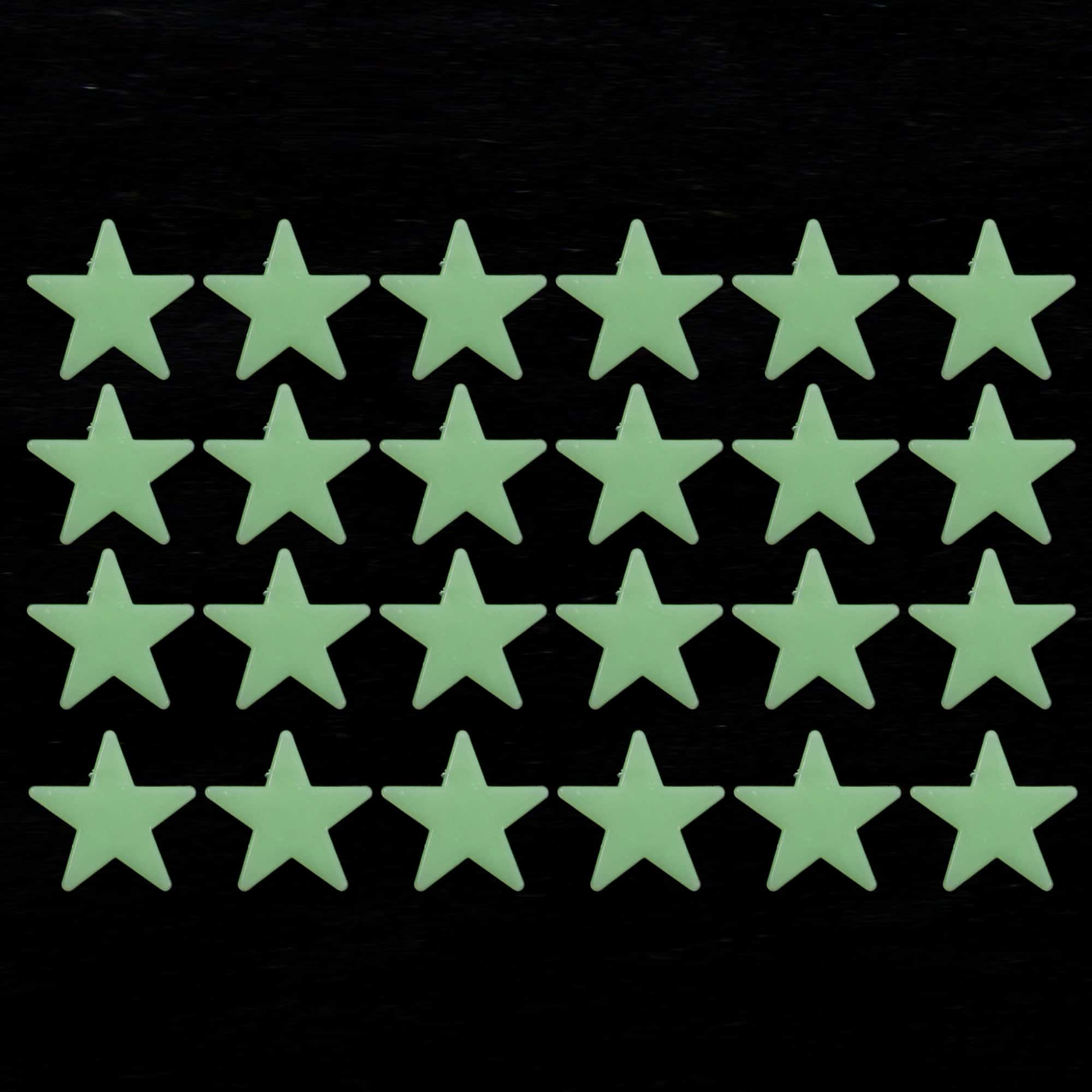 Pack of 24 plastic stars that glow in the dark after being exposed to llight.
