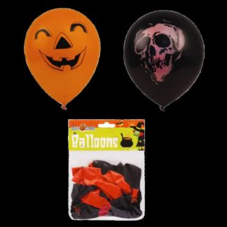 Pack of 24 Halloween Balloons. Orange balloons have black pumpkin design and black balloons have a skull pattern