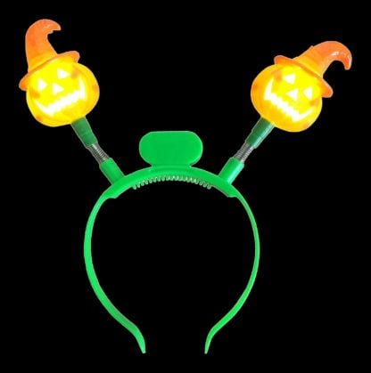 One-size fits all flashing LED halloween headboppers with pumpkins