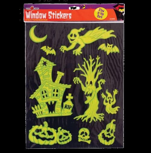 Halloween stickers for windows. Ideal for children's bedrooms, the self-cling static stickers feature various designs in neon yellow and green
