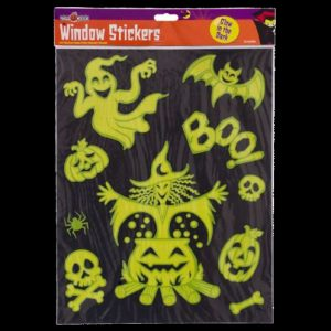 Halloween glow in the dark window stickers. Ideal for children's bedrooms, the self-cling static stickers feature various designs in neon yellow and green and will glow brightly in the dark.