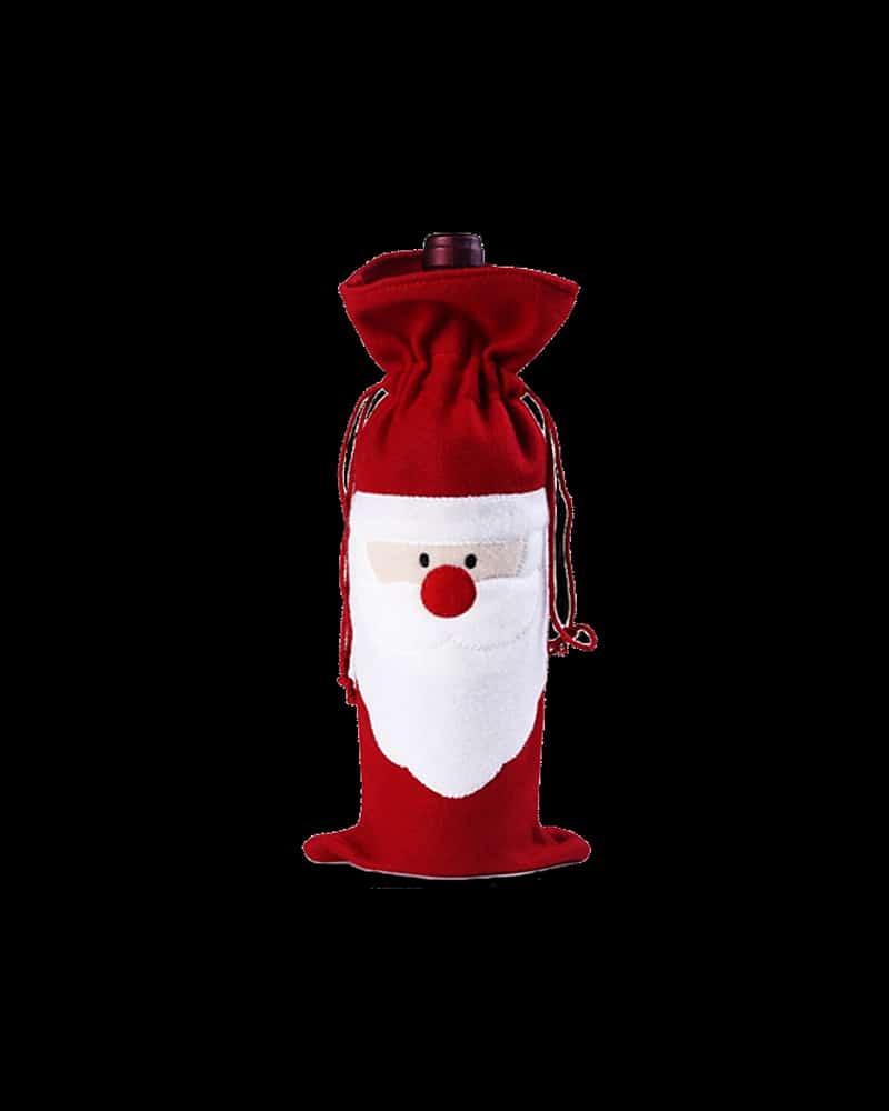 Santa Wine Bottle Bag with a happy Santa face and drawstring top