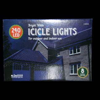 240x LED Icicle Lights with 10 metre cable and 8 function controller.