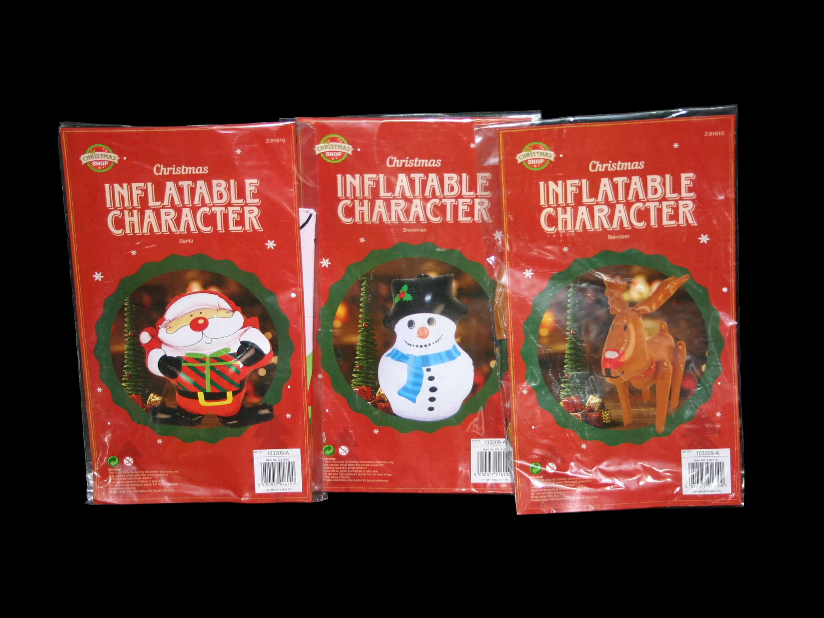 65cm tall inflatable Christmas characters, available as Santa, Reindeer or Snowman