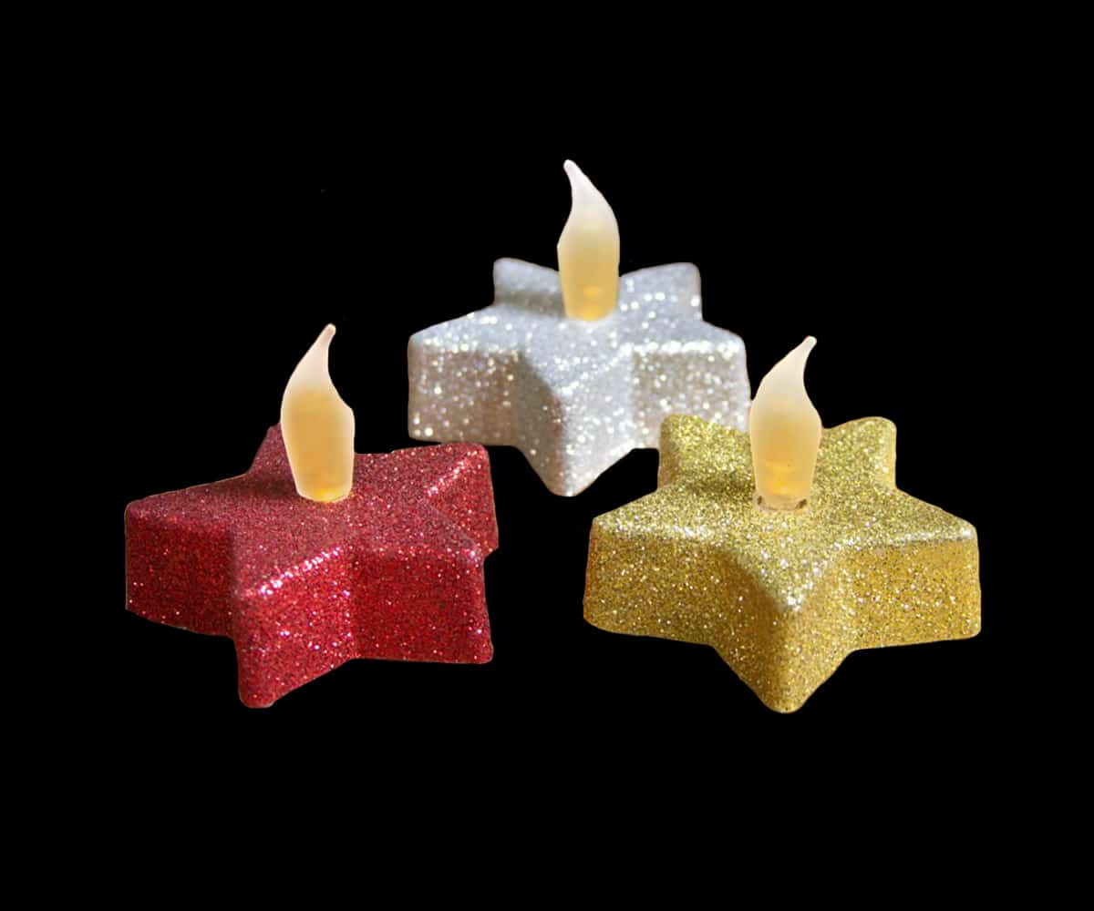Glitter LED Flickering Stars supplied in Gold, Silver or Red