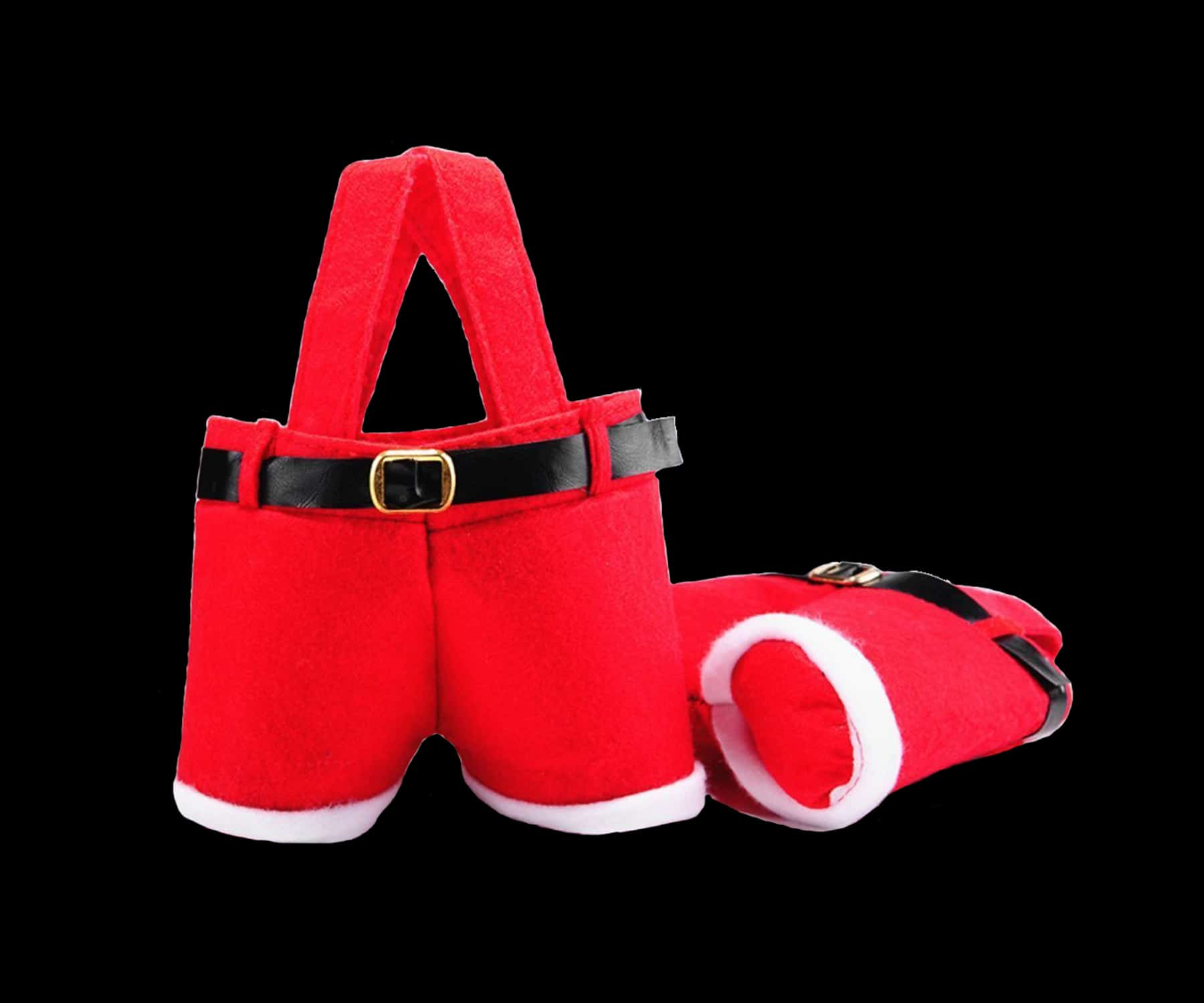 Santa Trousers Bag in red felt with black belt, buckle and fur detail.