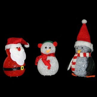 Fun and attractive LED Christmas decorations in Santa, Penguin or Snowman design. With blue and red flashing LEDs inside a plastic crystal body.