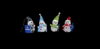LED Snowman Decoration with colour changing warm pastel LEDs