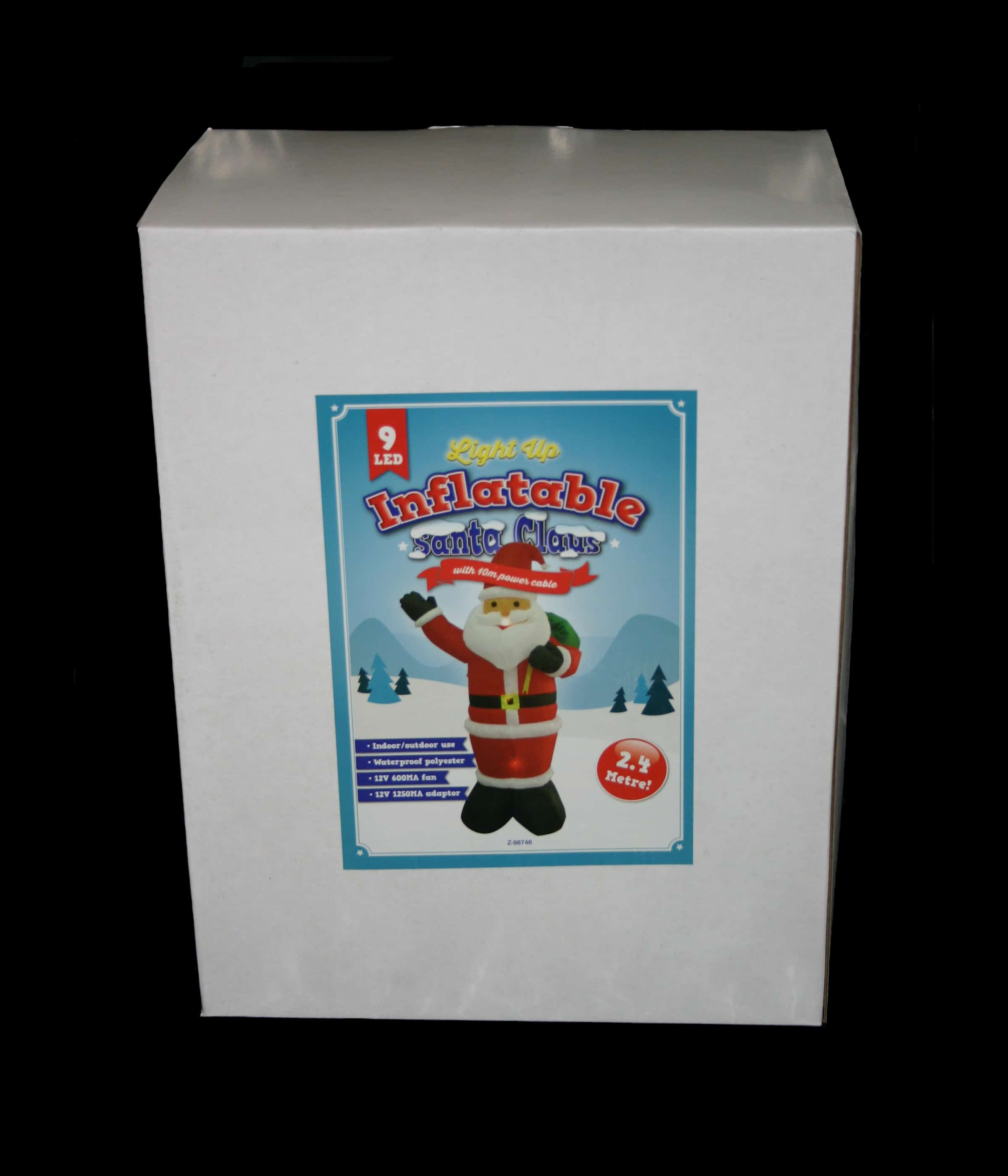 Extra Large 2.4 Metre Inflatable Santa, with ground pegs and guide ropes and 10 meter power cable
