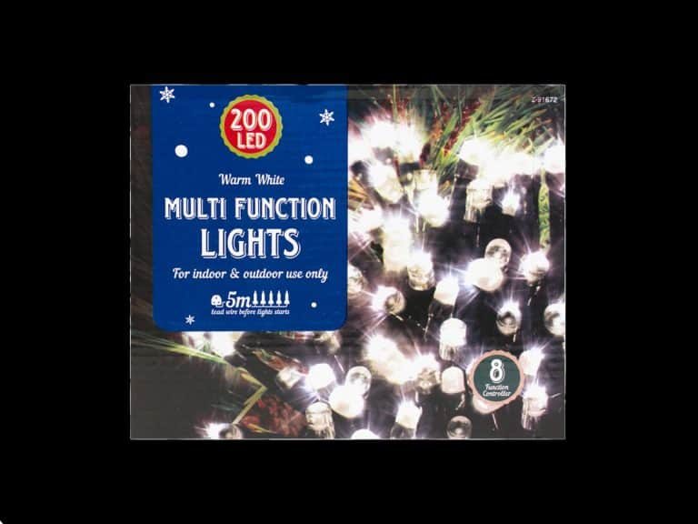 200x Warm White LED Multi-Function Christmas Lights on a 10 metre power cable with transformer and mains plug
