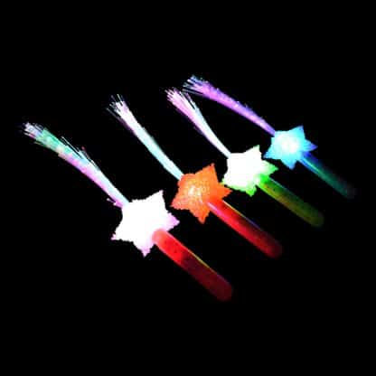 Fibre Optic wands multi-coloured with star handle
