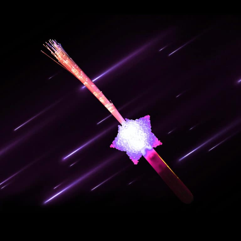 Multi-coloured LED and Fibre Optic wand with Star Handle