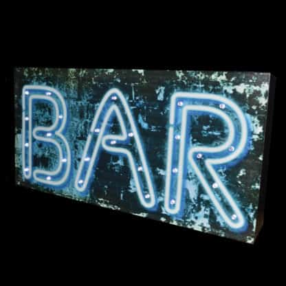 Light up LED Bar Sign wooden freestanding and mounted