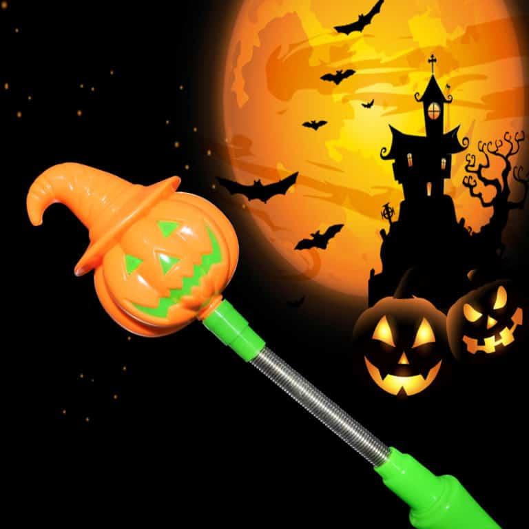 Halloween LED Light Up Pumpkin Spooky Wand orange