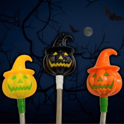 Halloween LED Light Up Pumpkin Wand orange yellow black set