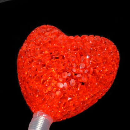 Flashing bopping heart wand light up glow in the dark red crystal effect