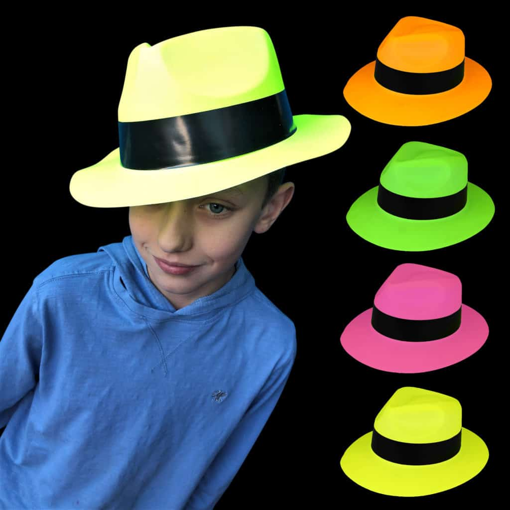 Neon Gangster Hats pink orange green yellow 4 pack pride festivals 80's disco dress up